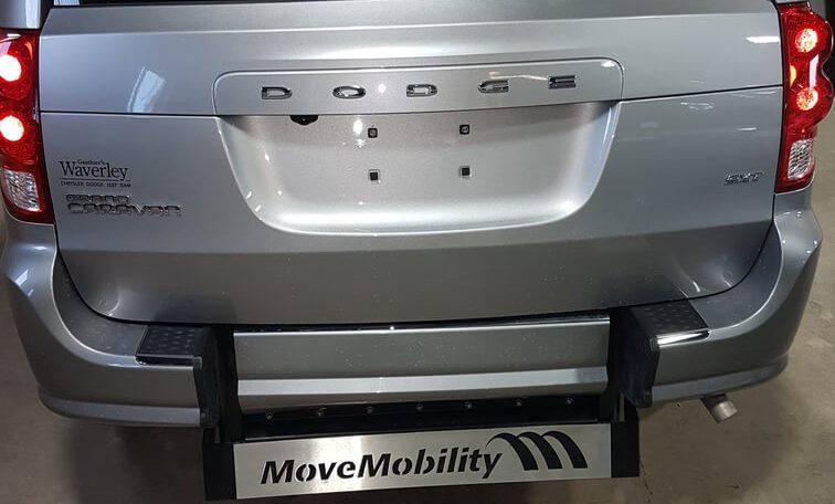 rear view of wheelchair ramp not deplyed in dodge wheelchair van