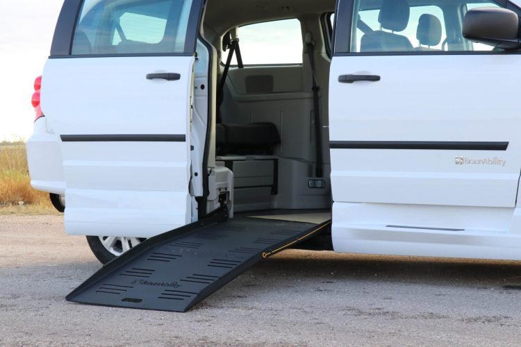 braunability commercial e3 side entry dodge minivan with ramp deployed